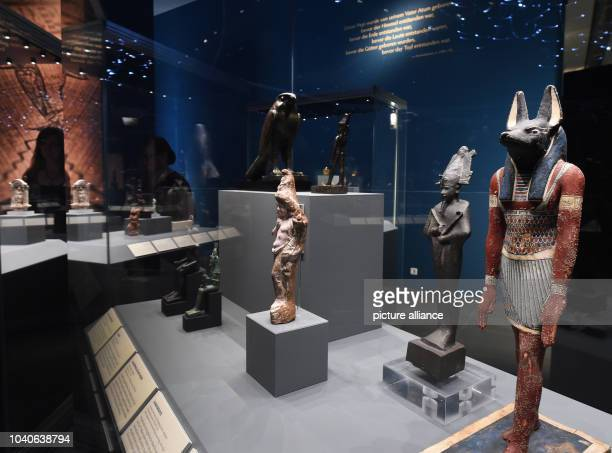 The statues of Anubis Osiris Harpokrates and Horus one of the 170 pieces on display in the special exhibition'Die Entstehung der Welt Aegyptens...