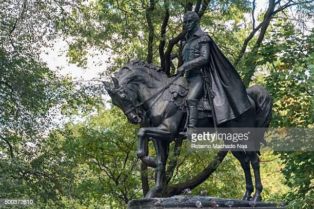 The statues of Central Park in New York city Simón Bolivar Monument or Equestrian statue of Simón Bolívar Credits Sally James Farnham sculptor and...