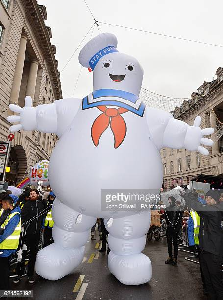 The 'Stay Puft Marshmallow Man' inflatable from the film 'Ghostbusters' at the second annual Hamleys Christmas Toy Parade on Regent Street, central...