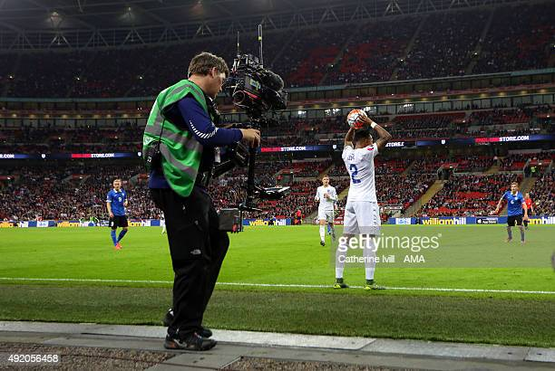 The steadicam television camera films Nathaniel Clyne of England as he prepares to take a throw in during the UEFA EURO 2016 Qualifier match between...