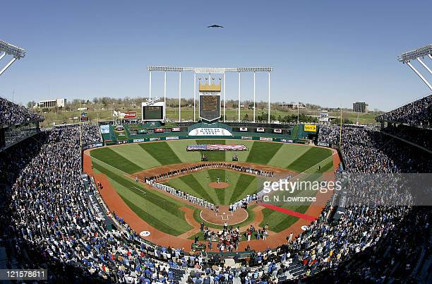 The Stealth Bomber makes a fly over during pregame festivities on opening day at Kauffman Stadium in Kansas City MO on April 3 2006