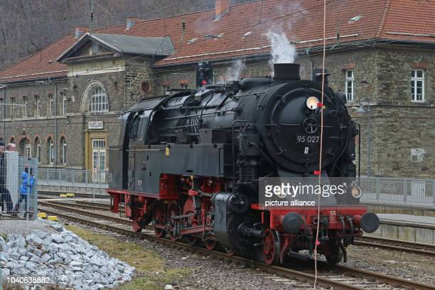 The steam engine 'Bergkoenigin 95 027' lit 'mountain queen' can be seen at the station in Ruebeland Germany 25 February 2017 The mountain queen is...