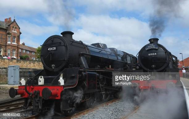 The steam locomotives 'Eric Treacy' and 'Chiru' sit together at Whitby train station during a ceremony to mark a second platform opening at the...