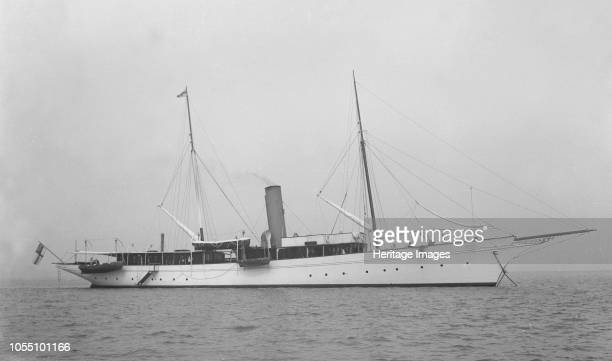 The steam yacht 'Agatha' at anchor, 1919. Artist Kirk & Sons of Cowes.