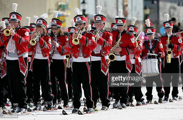 The Steamboat Springs High School Skiing Band takes part in the Diamond Hitch Parade on Lincoln Avenue during the 95th Annual Steamboat Springs...