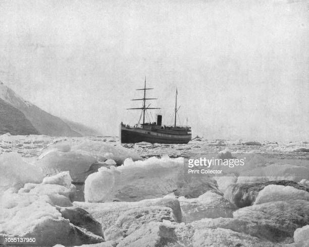 The steamer 'Queen' Glacier Bay Alaska USA circa 1900 Steamship with pack ice in the foreground From Scenic Marvels of the New World edited by Prof...