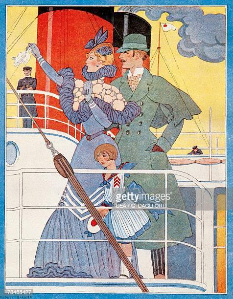 The steamer setting sail cover of the General Transatlantic Company's menu 1907 20th century