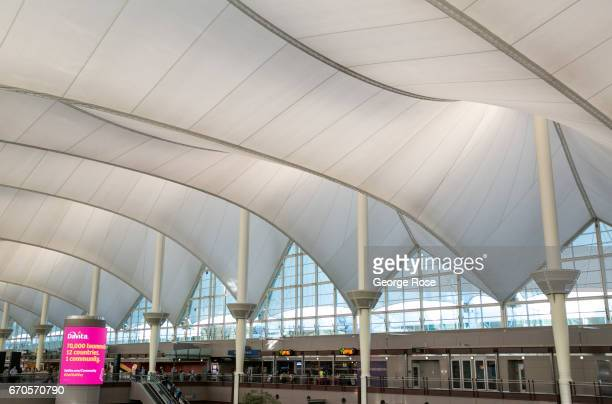 The steel and fabric constructed interior main terminal tent is viewed on April 12 in Denver Colorado Located 25 miles from downtown Denver...