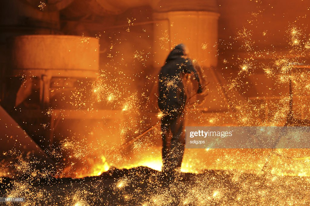 The steel and iron worker is working : Stock Photo