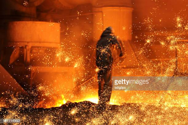 the steel and iron worker is working - steelmaking stock photos and pictures