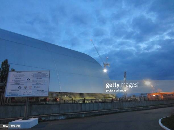 The steel roof for the frail concrete sarcophagus of the damaged reactor at the former nuclear plant Chernobyl in Prypyat Ukraine 25 April 2016 From...