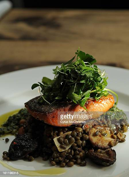 The steelhead trout on lentils at The Kitchen in Boulder on Wednesday December 21 2011 Restaurants are increasingly offering healthy options on the...