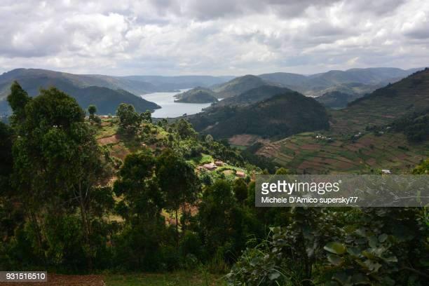 The steep lush hillslopes above Lake Bunyonyi