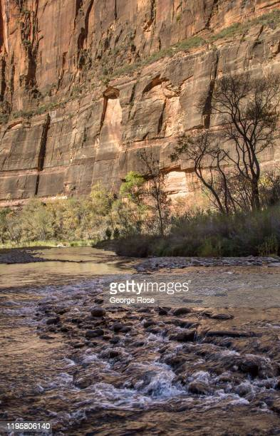 The steep rock formations and canyon walls are viewed from the Virgin River flowing through the valley floor on November 6, 2019 in Zion National...