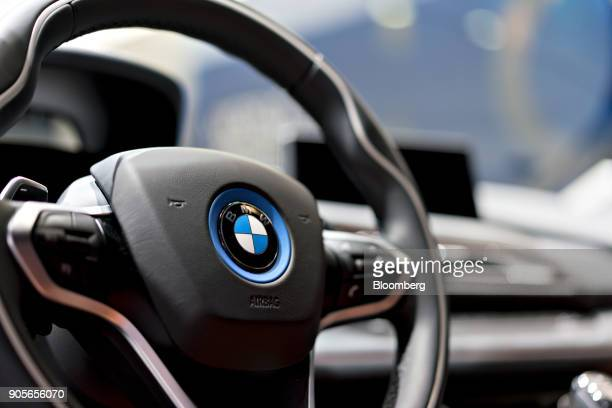 The steering wheel of a Bayerische Motoren Werke AG i8 plugin coupe vehicle is seen during the 2018 North American International Auto Show in Detroit...
