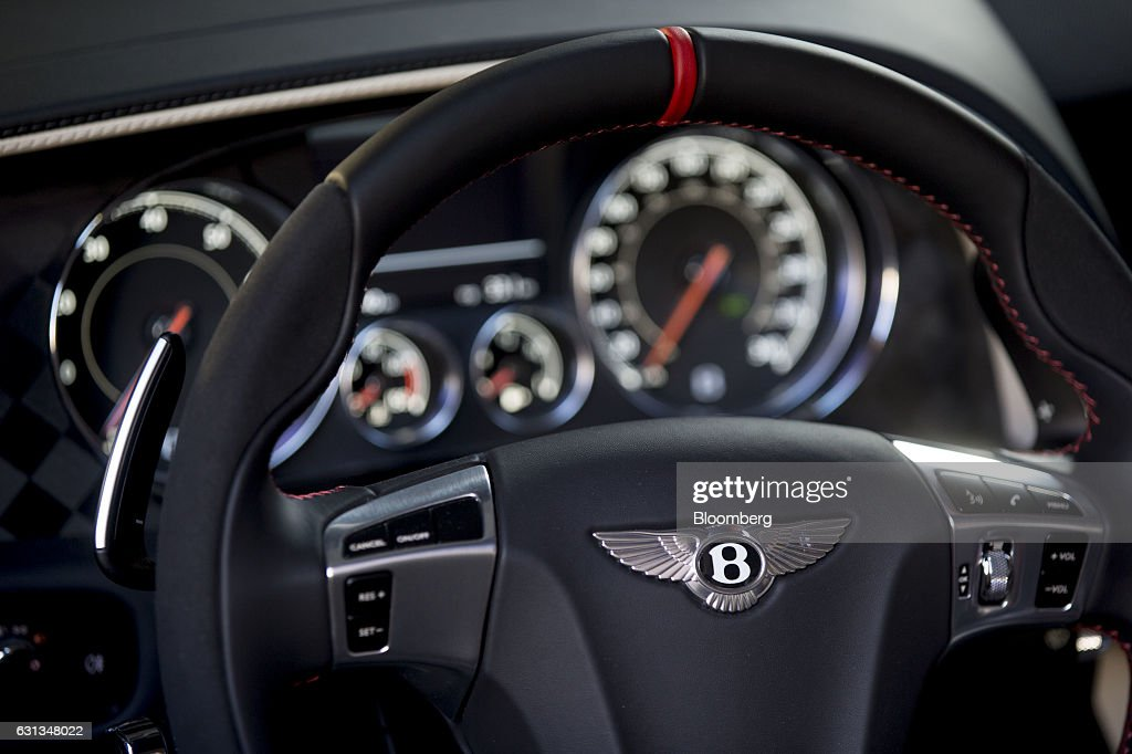 The steering wheel of a Bentley Motors Ltd. 2017 Continental Supersports convertible vehicle sits on display during a reveal event ahead of the 2017 North American International Auto Show (NAIAS) in Detroit, Michigan, U.S., on Sunday, Jan. 8, 2017. The 2017 Continental Supersports, Bentley's fastest, most powerful production Bentley ever, is the third iteration of the Supersports model that Bentley first produced in the 1920's and reintroduced in 2009. Photographer: Andrew Harrer/Bloomberg via Getty Images