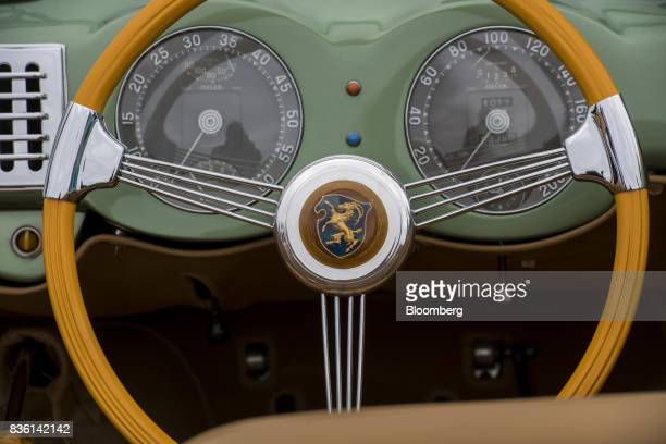 The steering wheel of the 1951 Cisitalia 202 SC Vignale Cabriolet is displayed during the 2017 Pebble Beach Concours d'Elegance in Pebble Beach...