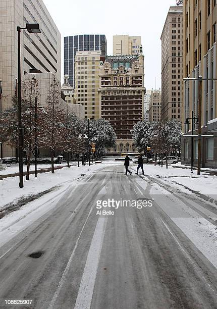 The steets are empty in downtown Dalls after a snowstorm hit the area February 4 2011 in Dallas Texas More than four inches of snow fell overnight in...