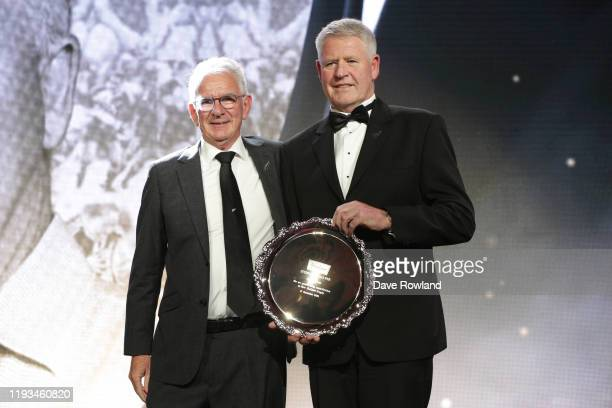 The Steinlager Salver for an Outstanding Contribution to New Zealand Rugby is Steve Tew presented by Brett Impey New Zealand Rugby Chairman during...