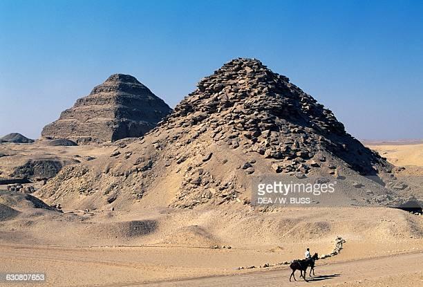 The Step Pyramid of Djoser and Pyramid of Userkaf Saqqara Memphis Egyptian civilisation Old Kingdom Dynasty IIIV