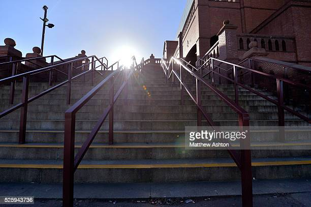 The steps leading to the Holte suite entrance of Villa Park the home stadium of Aston Villa in bright sunshine