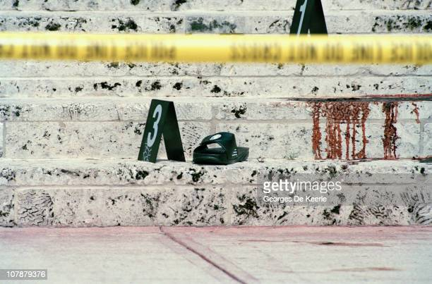 The steps of the Miami Beach home of Italian fashion designer Gianni Versace shortly after his murder Florida 15th July 1997