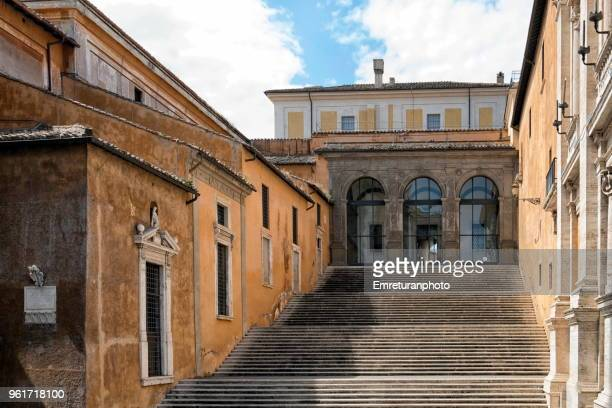 the steps on the side of the capitolini museum at campidoglio square in rome. - emreturanphoto stock pictures, royalty-free photos & images