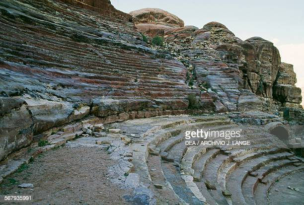 The steps to the Nabataean theatre which was later expanded by the Romans ancient city of Petra Jordan Nabatean civilisation 6th century BC2nd...