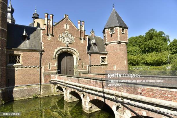 the sterckshof castle with his moats and red brick structure - history museum stock pictures, royalty-free photos & images