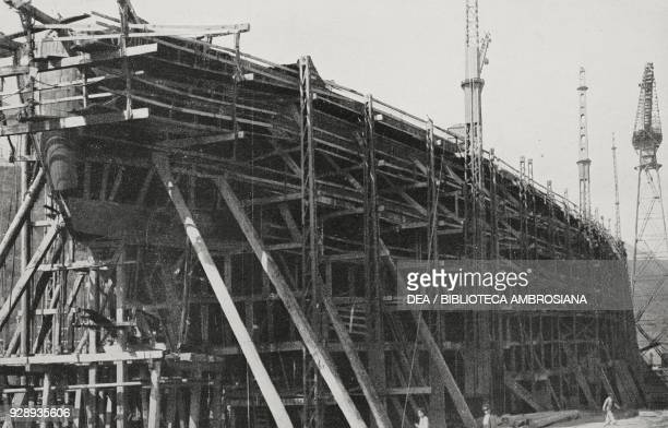 The stern of the battleship Caracciolo of the Italian Royal Navy construction phase on July 2 Castellammare di Stabia Italy photo by G Garzia from...