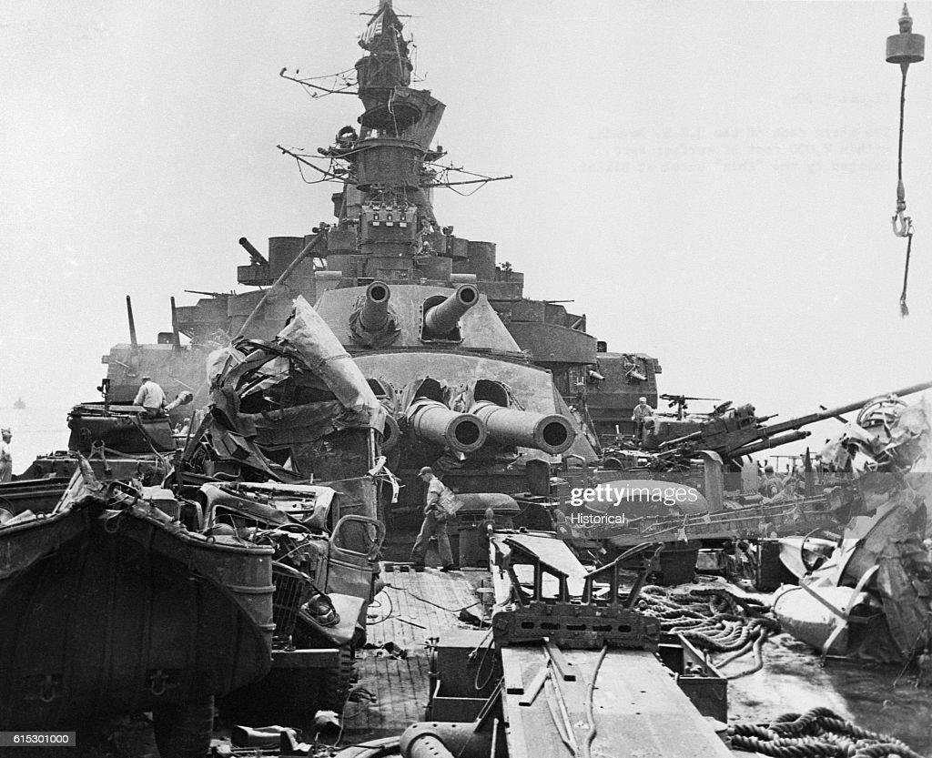 Damage to USS Nevada Stern after Atomic Blast : News Photo