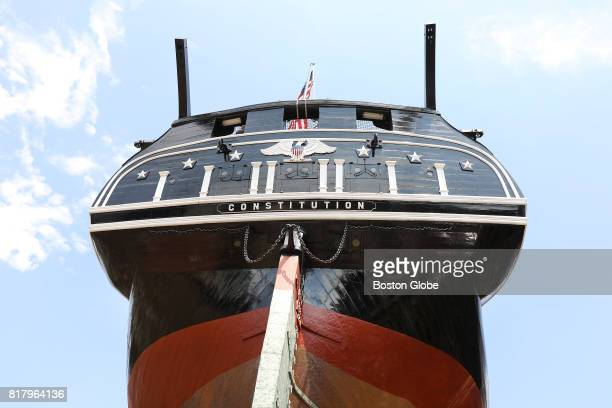 The stern of the USS Constitution is pictured during a media tour of the ship as it is held in Dry Dock 1 at the Charlestown Navy Yard in Boston on...