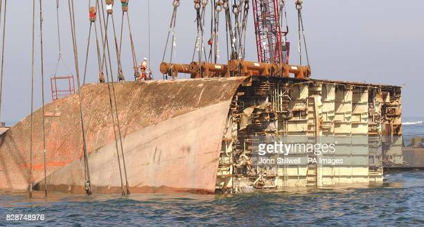 The stern section of the car carrier 'Tricolor' which sank after a collision with the container vessel 'Kariba' in the English Channel on the 14th...