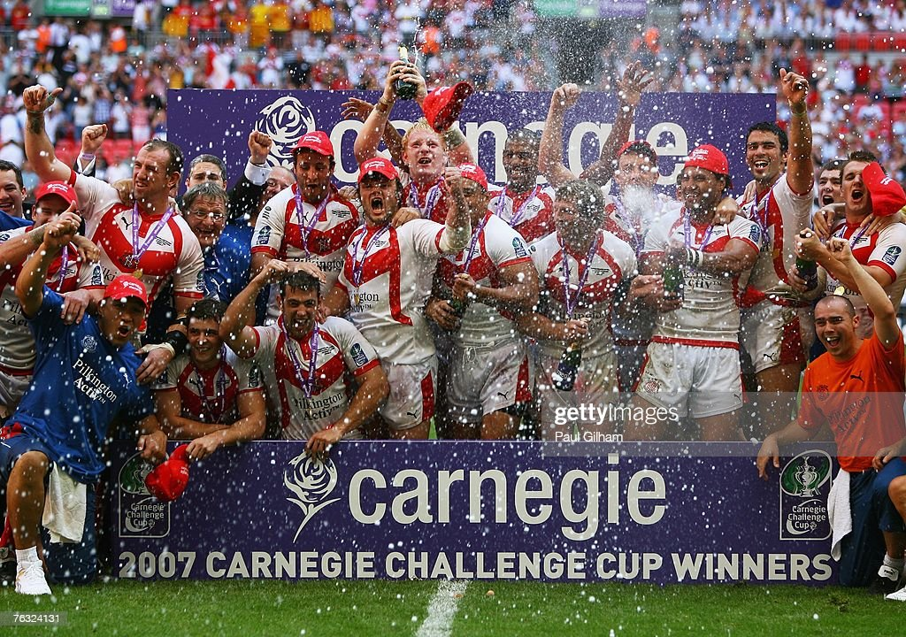 The St.Helens team celebrate following their victory during the Carnegie Challenge Cup Final between St.Helens and Catalans Dragons at Wembley stadium on August 25, 2007 in London, England.