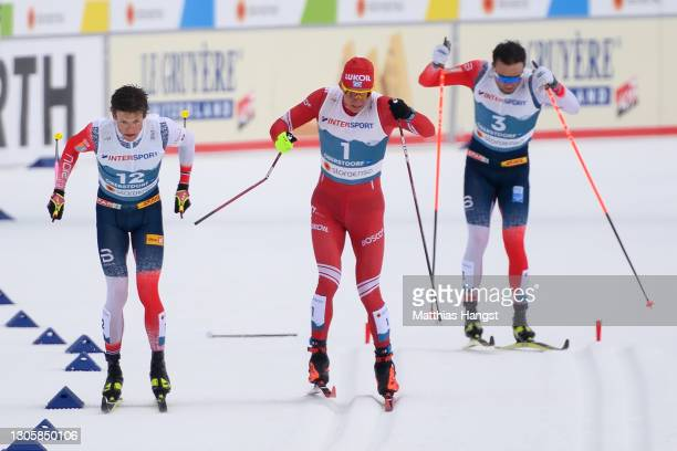 The stick of Alexander Bolshunov of Russia breaks during the finish sprint against Johannes Hoesflot Klaebo of Norway during the Men's Cross Country...