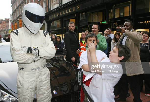 The Stig greets fans as he arrived in Dublin to promote the Top Gear Live tour 2009 the tour runs from December the 3rd to 6th at the RDS in Dublin