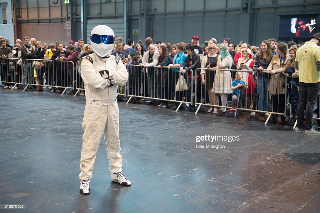 The Stig seen on the 2nd day of Comic Con 2016 on March 20, 2016 in Birmingham, United Kingdom.