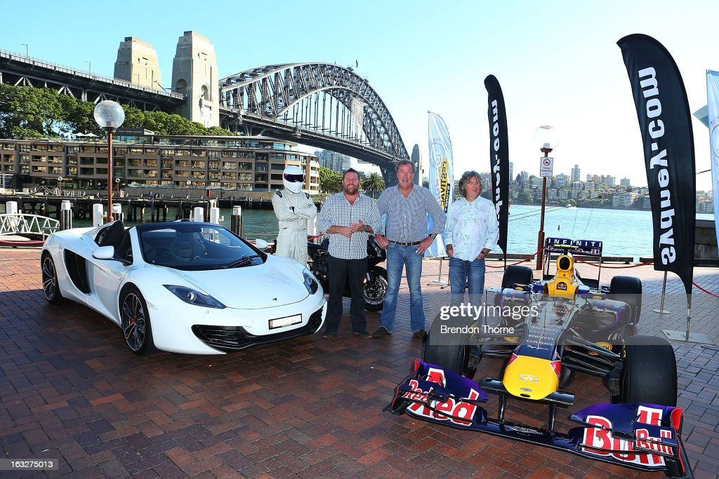 The Stig, Shane Jacobson, Jeremy Clarkson and James May pose at Campbell's Cove Boardwalk ahead of the Inaugural Top Gear Festival Sydney this weekend, on March 7, 2013 in Sydney, Australia.