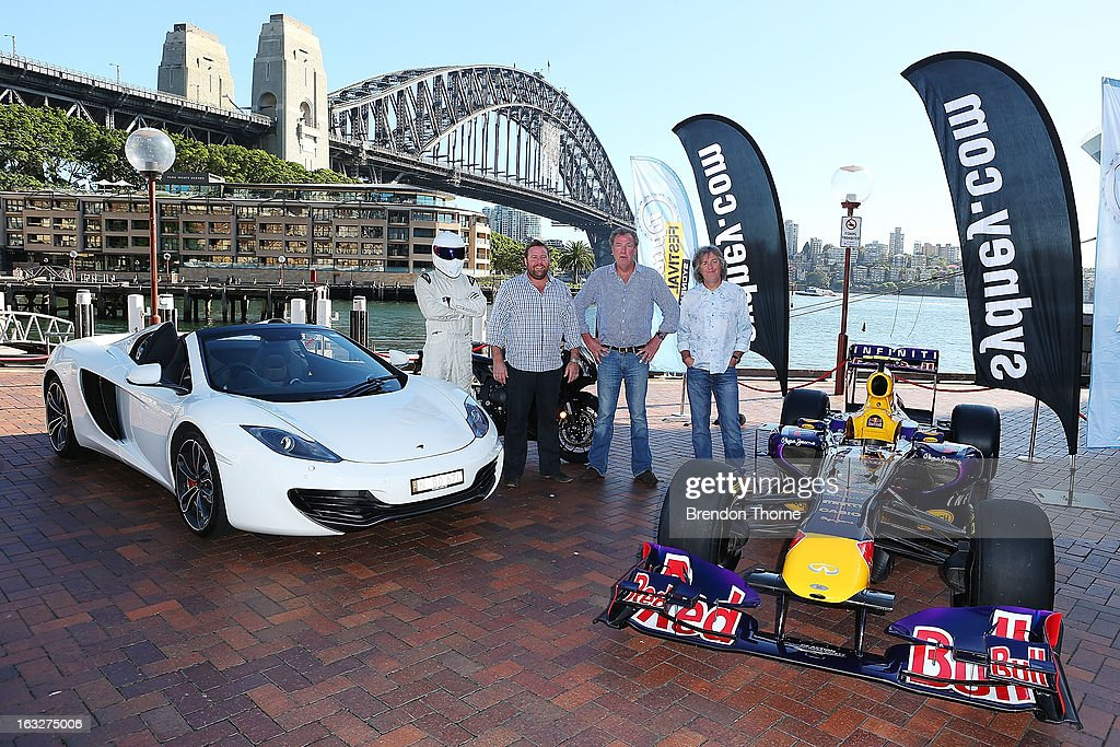 The Stig, Shane Jacobson, Jeremy Clarkson and James May poses at Campbell's Cove Boardwalk ahead of the Inaugural Top Gear Festival Sydney this weekend, on March 7, 2013 in Sydney, Australia.