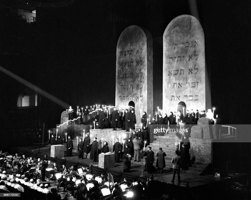 The stirring spectacle, 'We Will Never Die,' was presented tonight in Madison Square Garden as a memorial for the 2,000,000 murdered Jewish civilians of Europe. Here, is a general view of the candle procession during the Kaddish.
