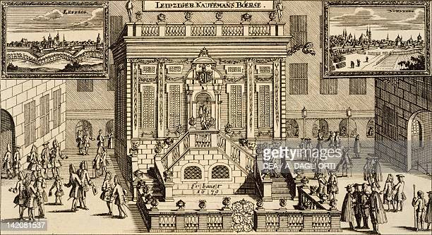 The Stock Exchange in Leipzig Germany 17th Century Print