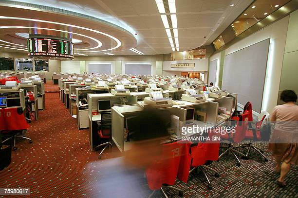 The stock exchange of Hong Kong is seen after the close of day, 06 August 2007. The Hang Seng Index closed down 601.71 points or 2.67 percent at...