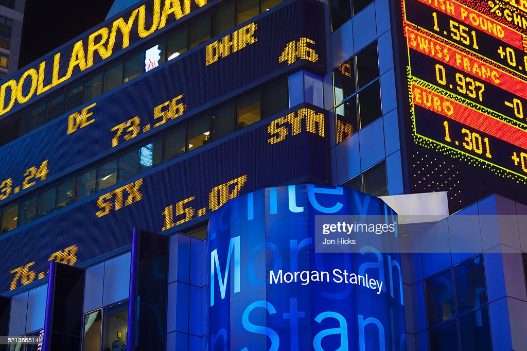 The Stock Ticker On The Morgan Stanley Building In Times
