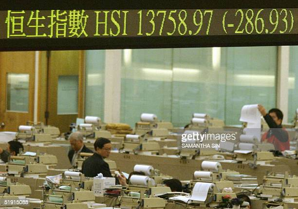 The stocks index figure is displayed in an electronic monitor at Hong Kong Stock Exchange 05 January 2005 Hong Kong share prices closed sharply lower...