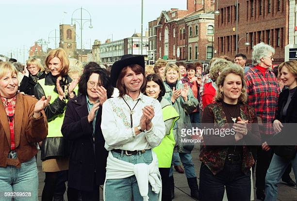 The Stockton Line Dance world record attempt in Stockton town centre. 3rd March 1997.