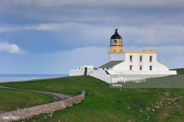 The Stoer Head Lighthouse at the Point of Stoer in Sutherland Highlands Scotland UK