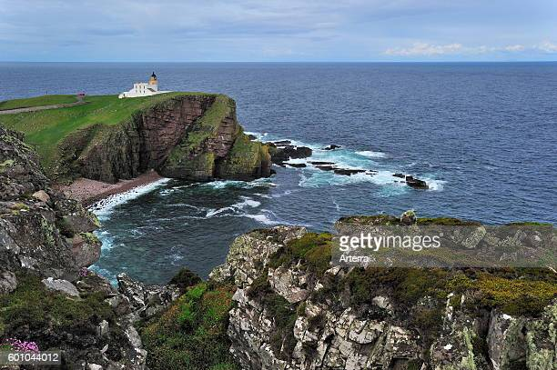 The Stoer Head Lighthouse at the Point of Stoer in Sutherland Scottish Highlands Scotland UK