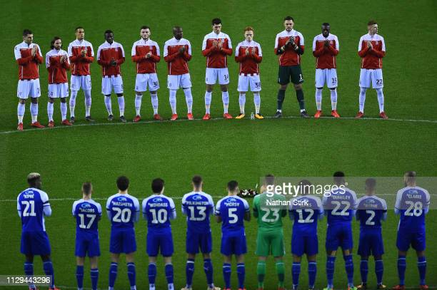 The Stoke City and Wigan Athletic players observe a minutes applause in the memory of Gordon Banks ahead of kick off during the Sky Bet Championship...