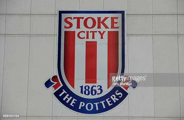 The Stoke City FC club badge ahead of the Barclays Premier League match between Stoke City and Burnley at Britannia Stadium on November 22 2014 in...
