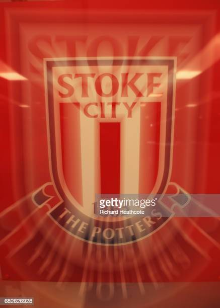 The Stoke City logo is seen prior to the Premier League match between Stoke City and Arsenal at Bet365 Stadium on May 13 2017 in Stoke on Trent...